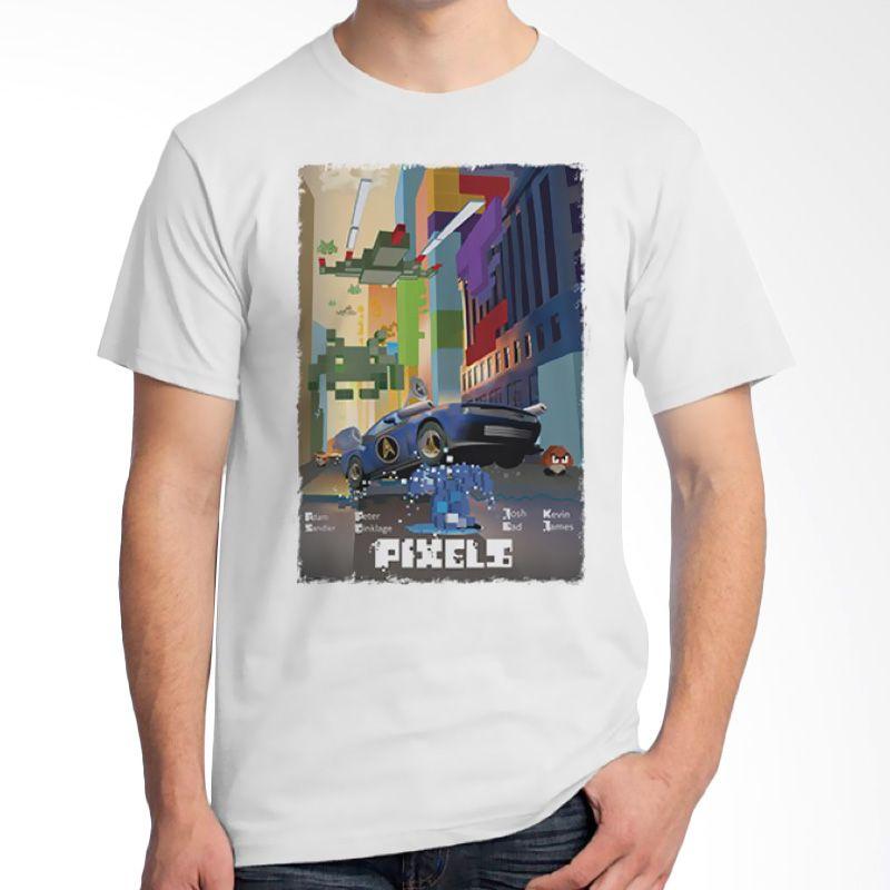 Ordinal Pixels Movie Edition 07 Putih Kaos Pria