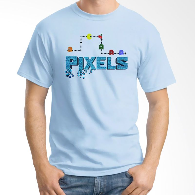 Ordinal Pixels Movie Edition 09 Biru Muda Kaos Pria