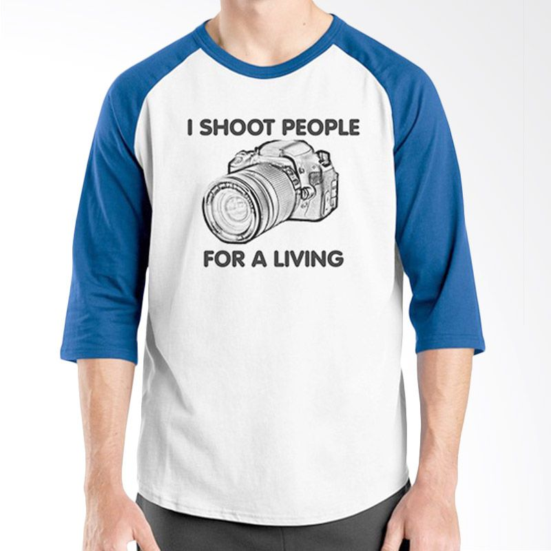 Ordinal Raglan About Photography Edition 13 Biru Putih Kaos Pria