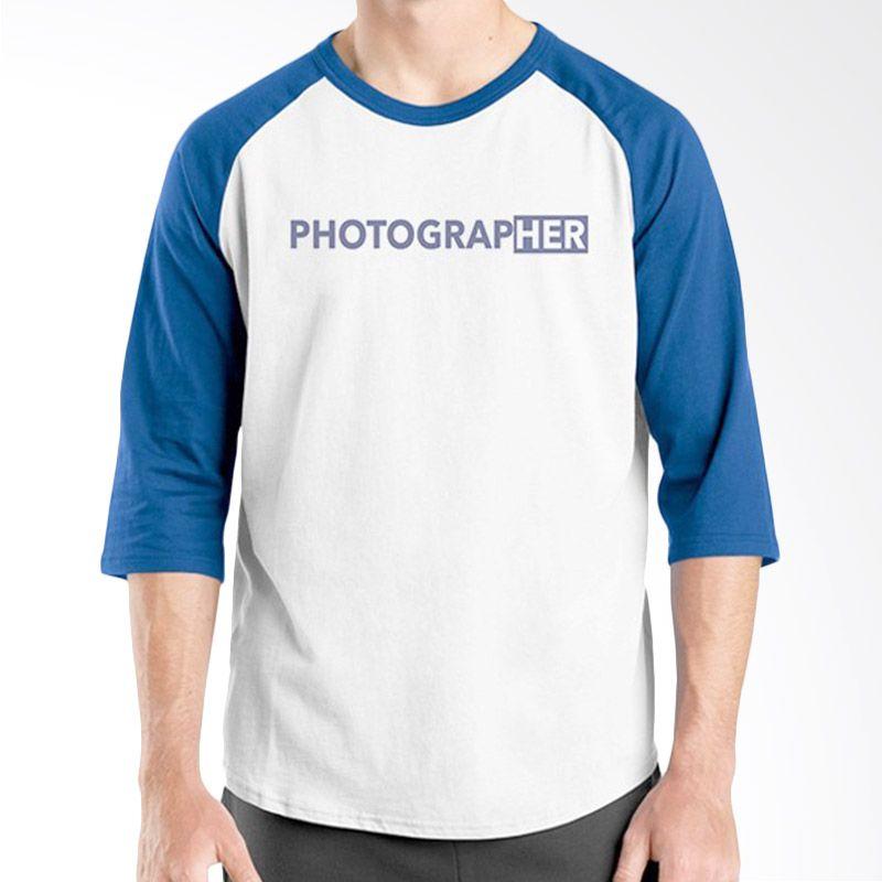 Ordinal Raglan About Photography Edition 17 Biru Putih Kaos Pria