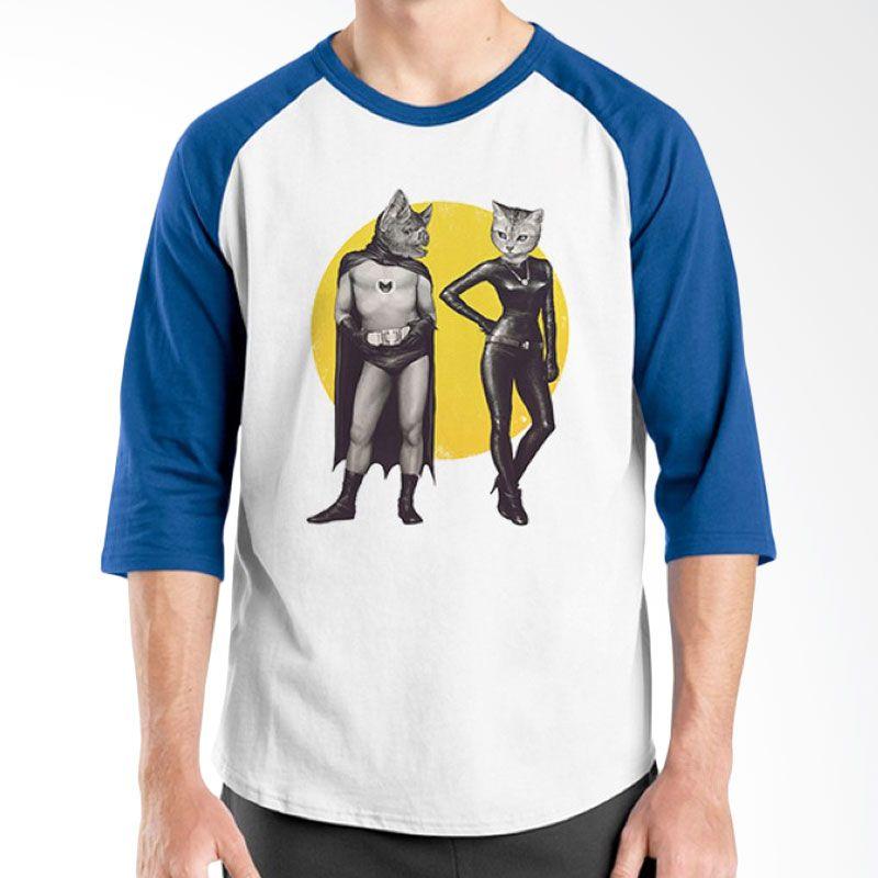 Ordinal Animal Character 15 Raglan Biru Putih T-Shirt Pria