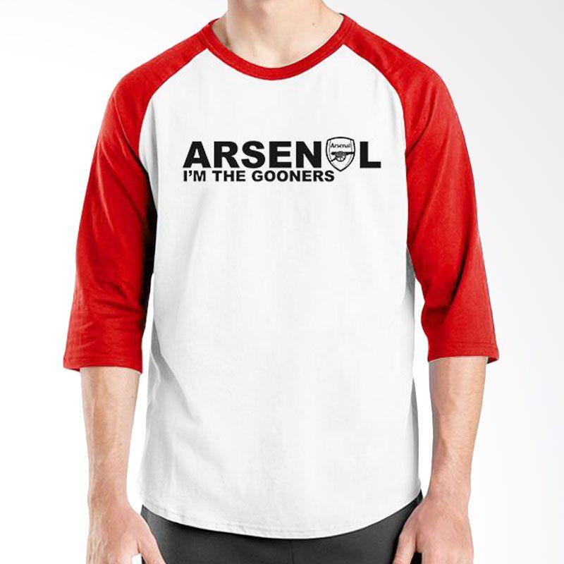 Ordinal Raglan Arsenal 03 Merah Putih Kaos Pria