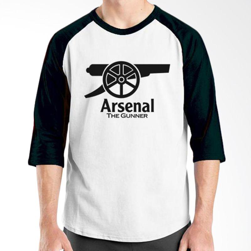 Ordinal Raglan Arsenal 05 Hitam Putih Kaos Pria