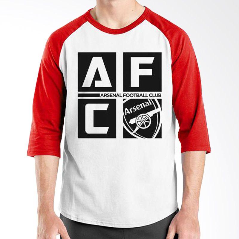 Ordinal Raglan Arsenal 07 Merah Putih Kaos Pria