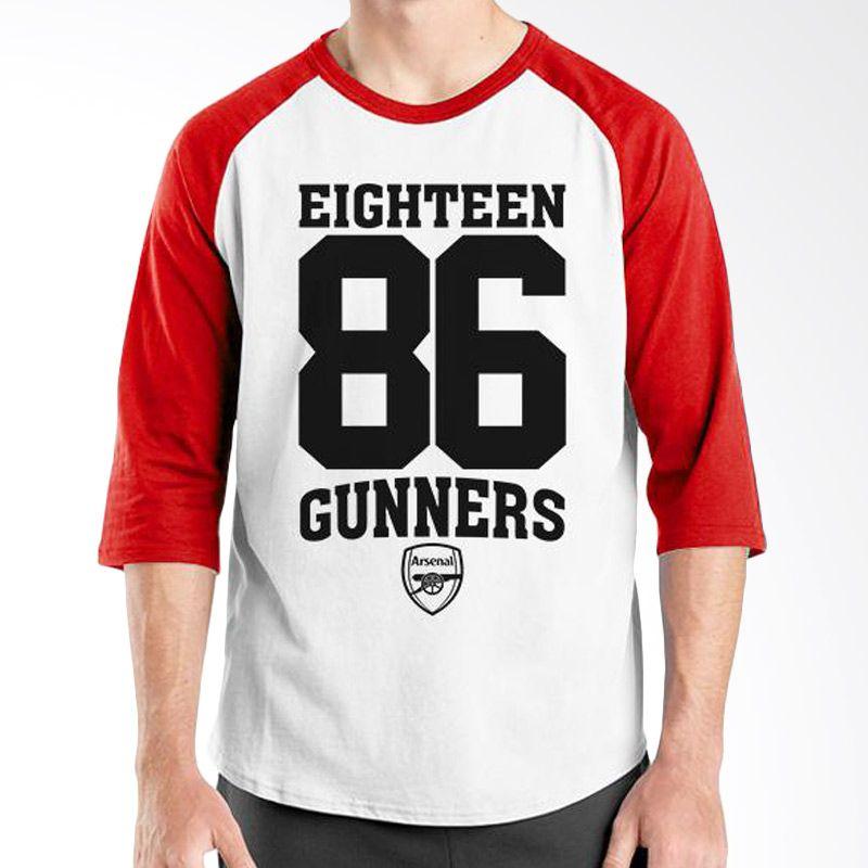 Ordinal Raglan Arsenal 08 Merah Putih Kaos Pria