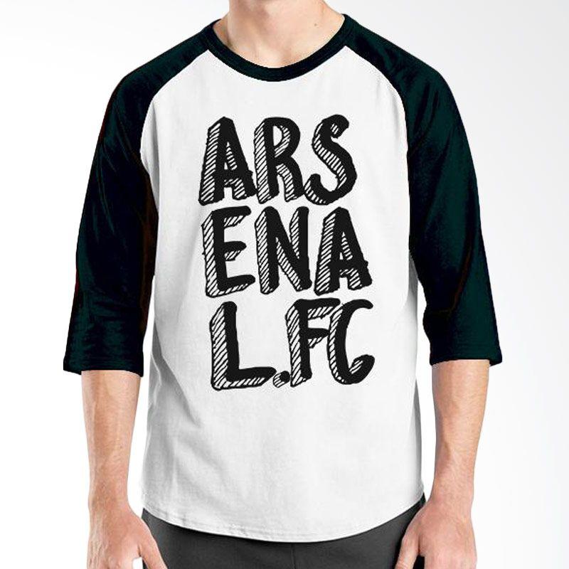 Ordinal Raglan Arsenal 11 Hitam Putih Kaos Pria