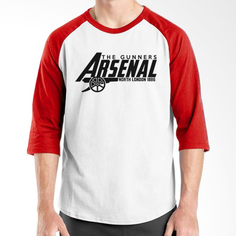Ordinal Raglan Arsenal 12 Merah Putih Kaos Pria