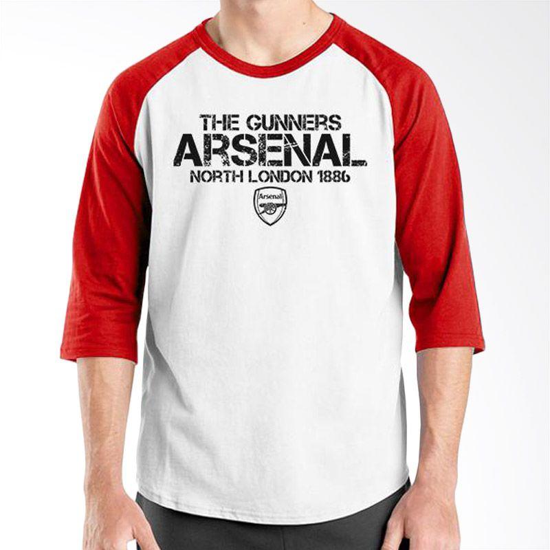 Ordinal Raglan Arsenal 15 Merah Putih Kaos Pria