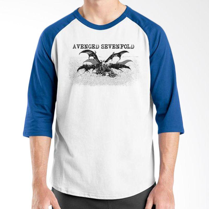 Ordinal Raglan Avenged Sevenfold 02 Biru Putih Kaos Pria