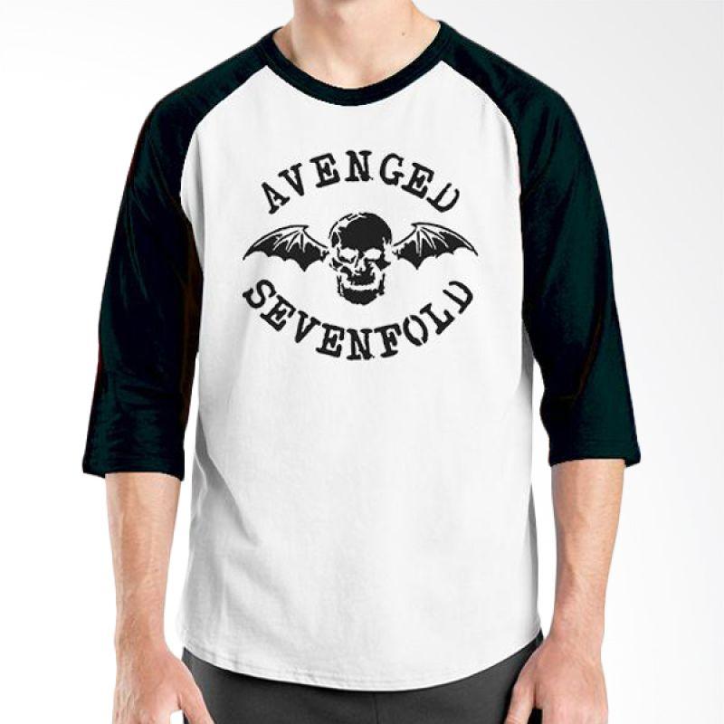 Ordinal Raglan Avenged Sevenfold Logo 01 Hitam Putih Kaos Pria