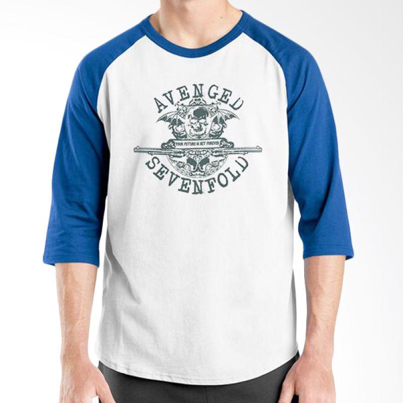 Ordinal Raglan Avenged Sevenfold Logo 03 Biru Putih Kaos Pria