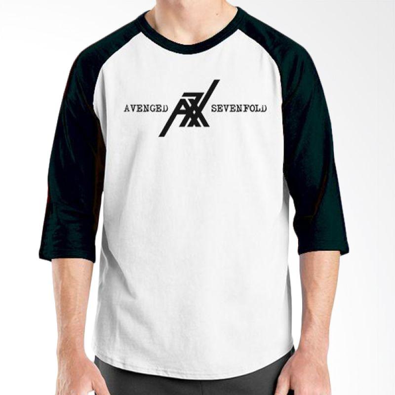 Ordinal Raglan Avenged Sevenfold Logo 04 Hitam Putih Kaos Pria