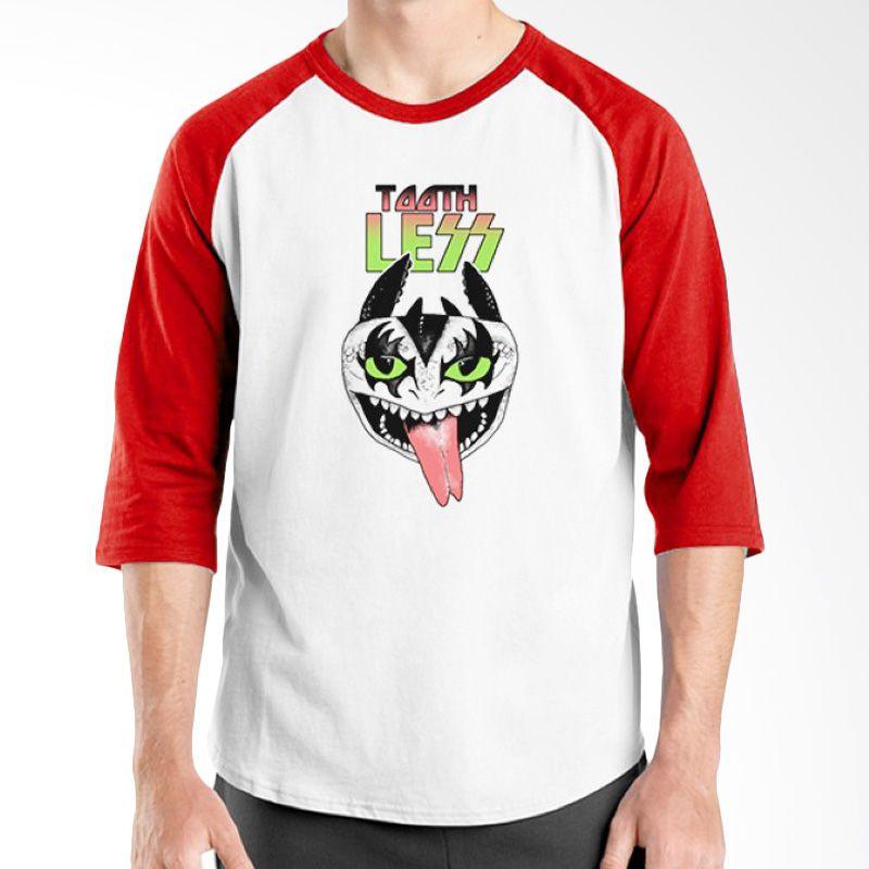Ordinal Raglan Band Logo Parody 05 Putih Merah Kaos Pria