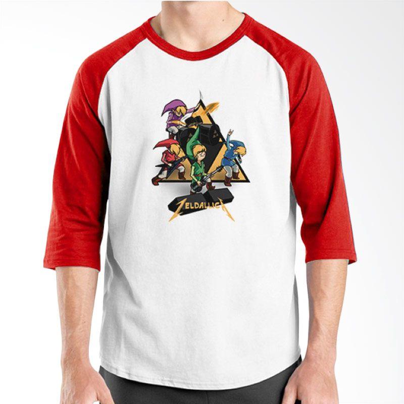 Ordinal Raglan Band Logo Parody 07 Putih Merah Kaos Pria