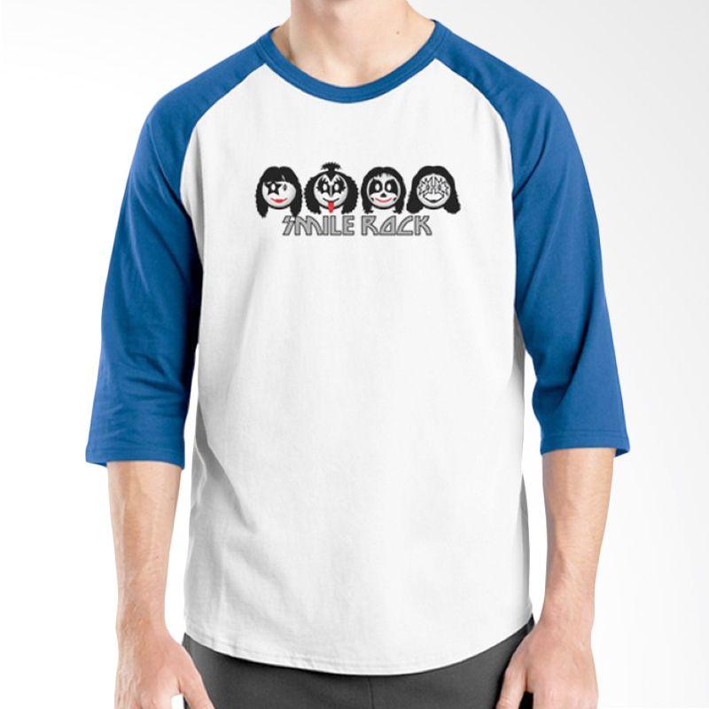 Ordinal Raglan Band Logo Parody 10 Putih Biru Kaos Pria