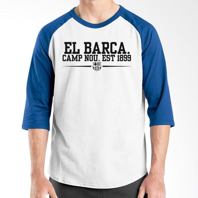 Ordinal Raglan Barcelona Edition 04 Putih Biru Kaos Pria