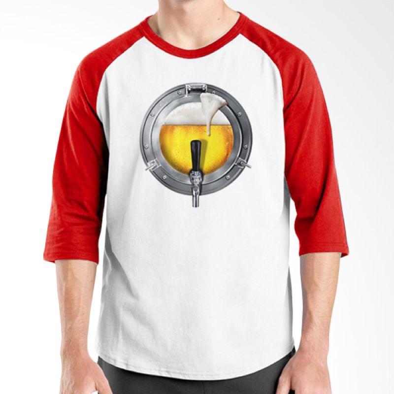 Ordinal Raglan Beer Holic Edition 01 Merah Putih Kaos Pria