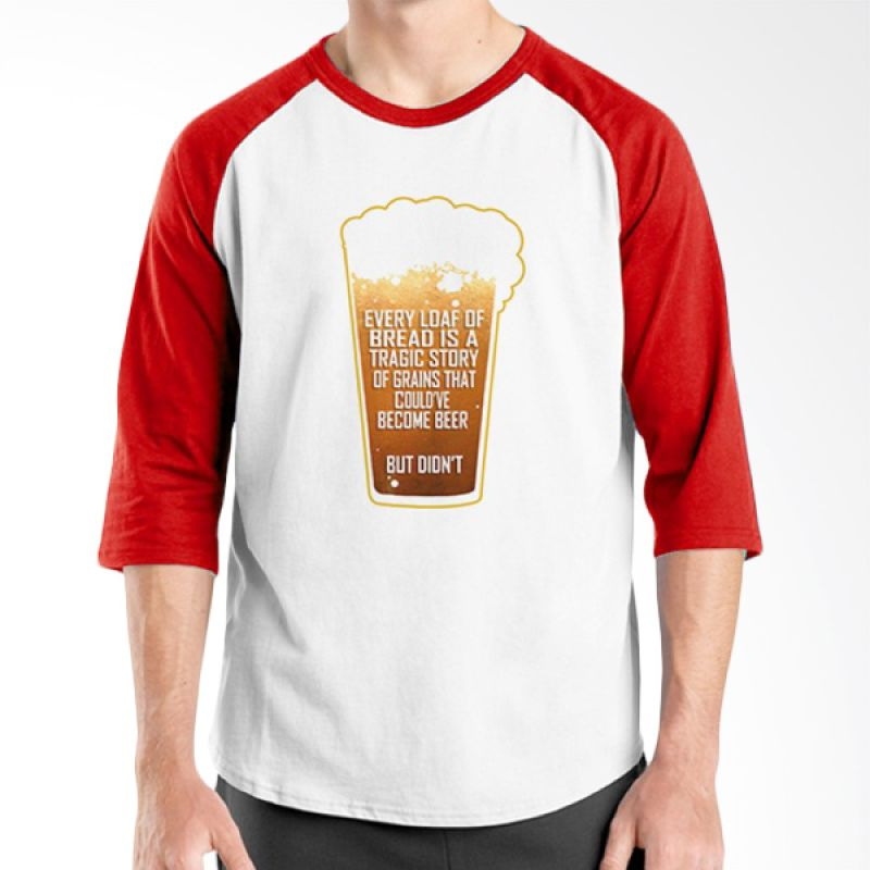 Ordinal Raglan Beer Holic Edition 07 Merah Putih Kaos Pria