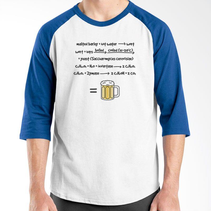 Ordinal Raglan Beer Holic Edition 08 Biru Putih Kaos Pria