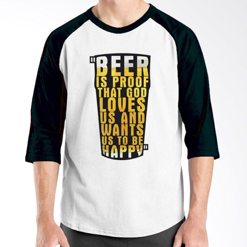 Ordinal Raglan Beer Holic Edition 11 Hitam Putih Kaos Pria