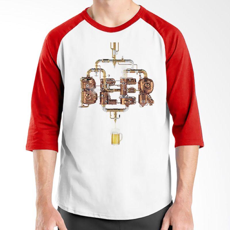 Ordinal Raglan Beer Holic Edition 15 Merah Putih Kaos Pria