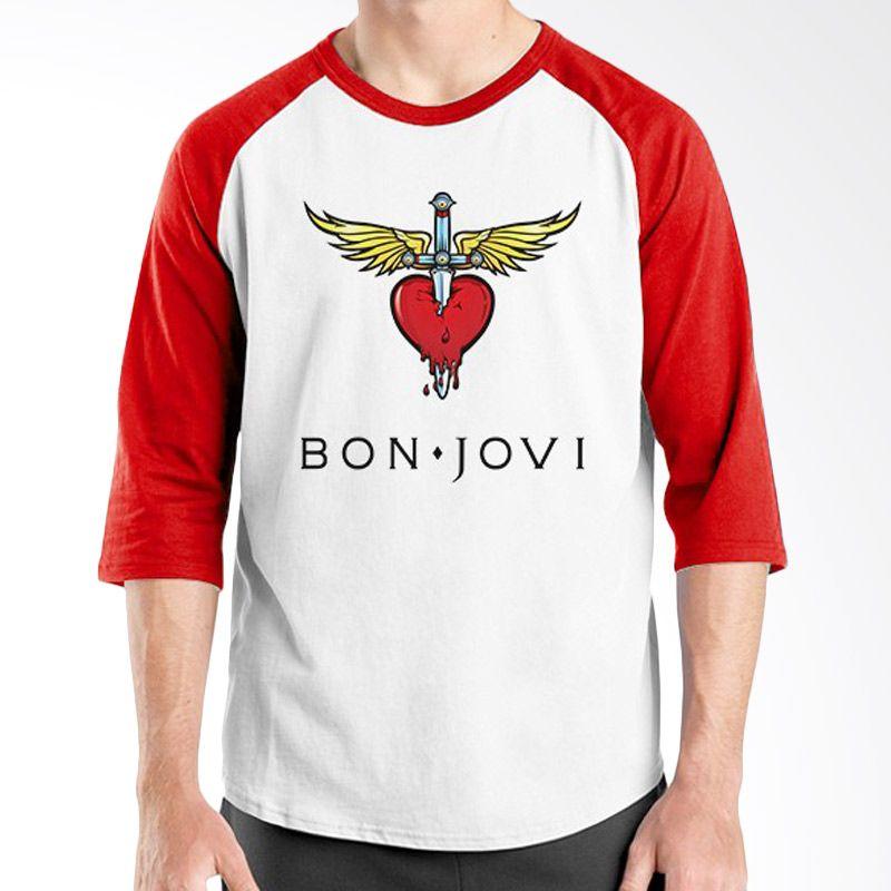 Ordinal RaglanBon Jovi Edition 02 Merah Putih Kaos Pria