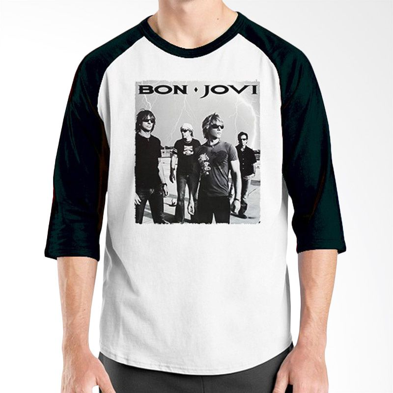 Ordinal Raglan Bon Jovi Edition 10 Hitam Putih Kaos Pria