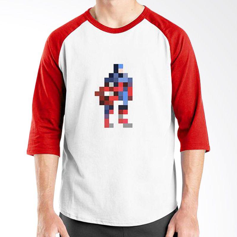 Ordinal Raglan Captain America Pixel Putih Merah Kaos Pria