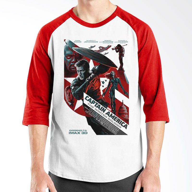 Ordinal Raglan Captain America Poster 01 Putih Merah Kaos Pria