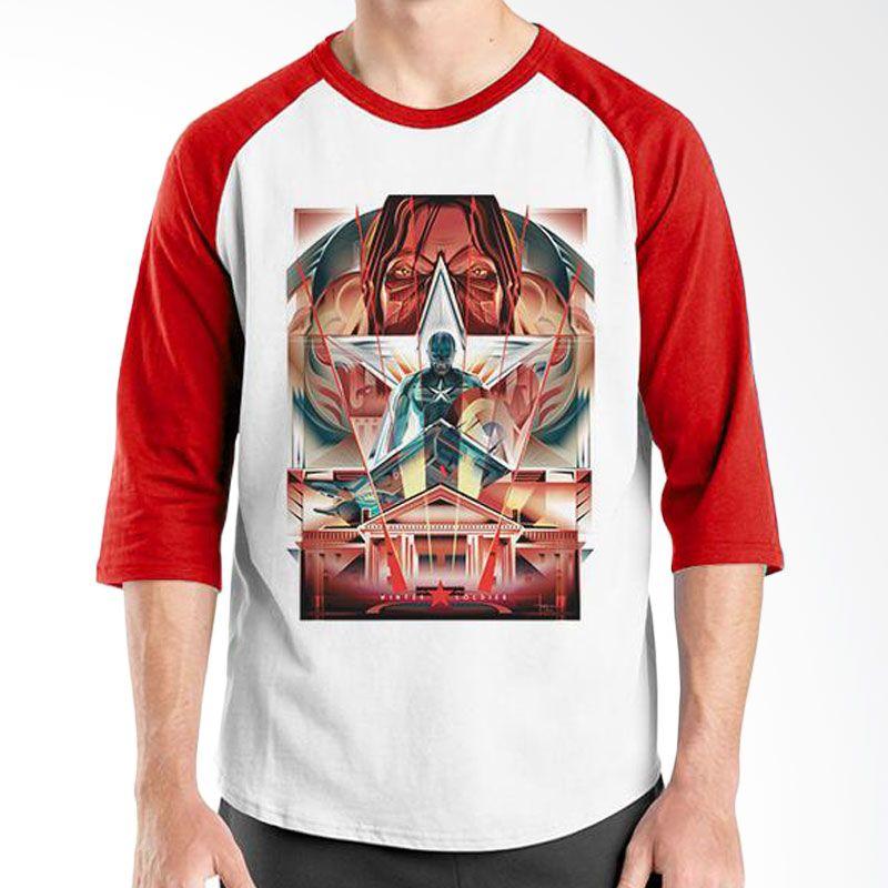 Ordinal Raglan Captain America Poster 02 Putih Merah Kaos Pria