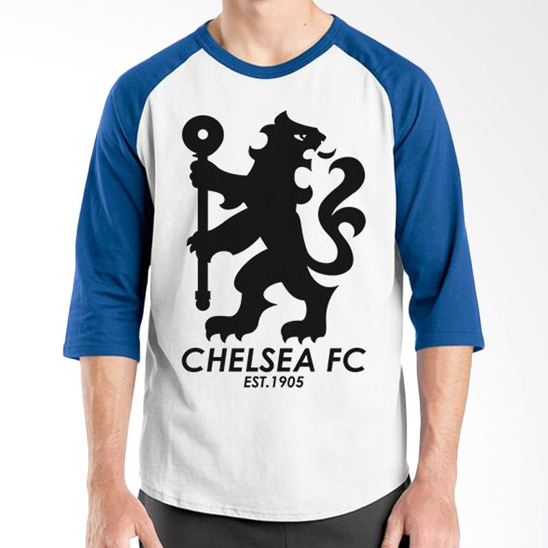 Ordinal Raglan Chelsea 08 Biru Putih Kaos Pria