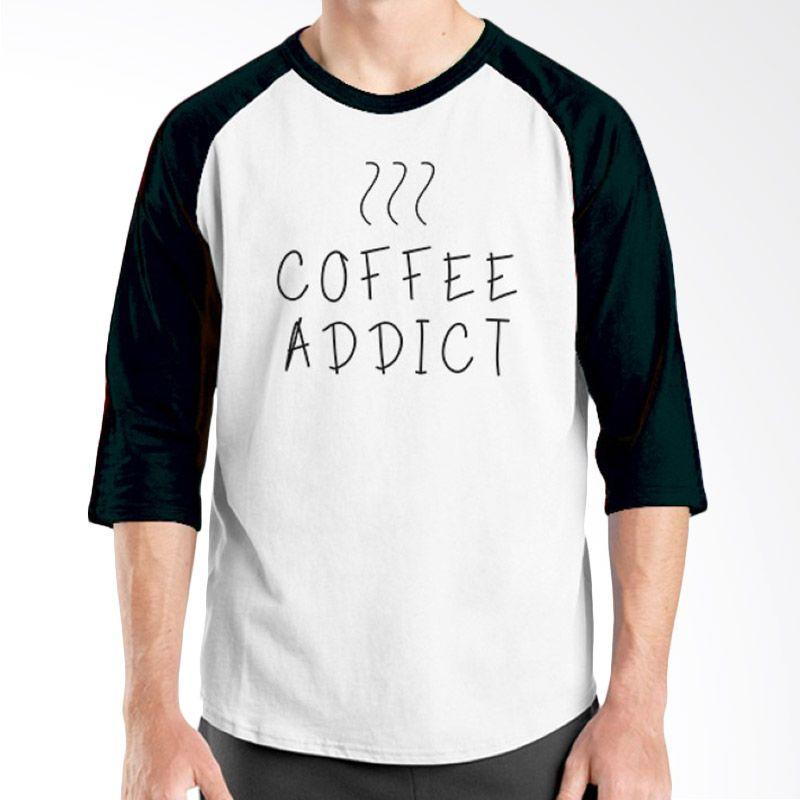 Ordinal Raglan Coffee Addict Edition 03 Hitam Putih kaos Pria