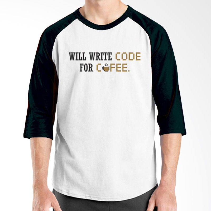 Ordinal Raglan Coffee Addict Edition 04 Hitam Putih kaos Pria