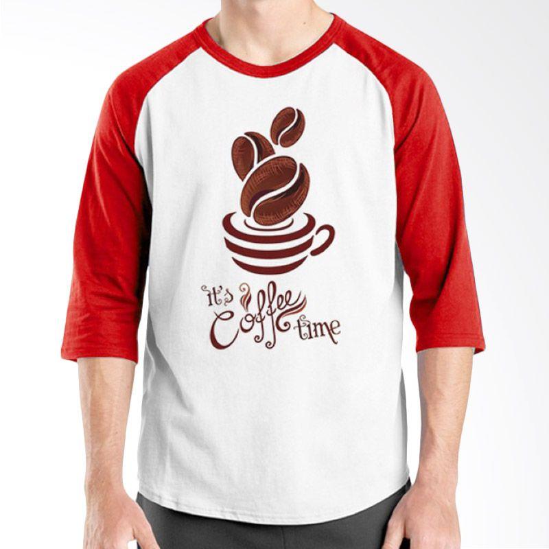 Ordinal Raglan Coffee Addict Edition 08 Merah Putih kaos Pria