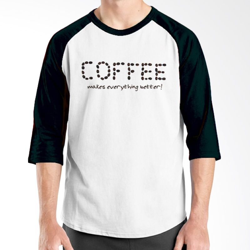 Ordinal Raglan Coffee Addict Edition 14 Hitam Putih kaos Pria