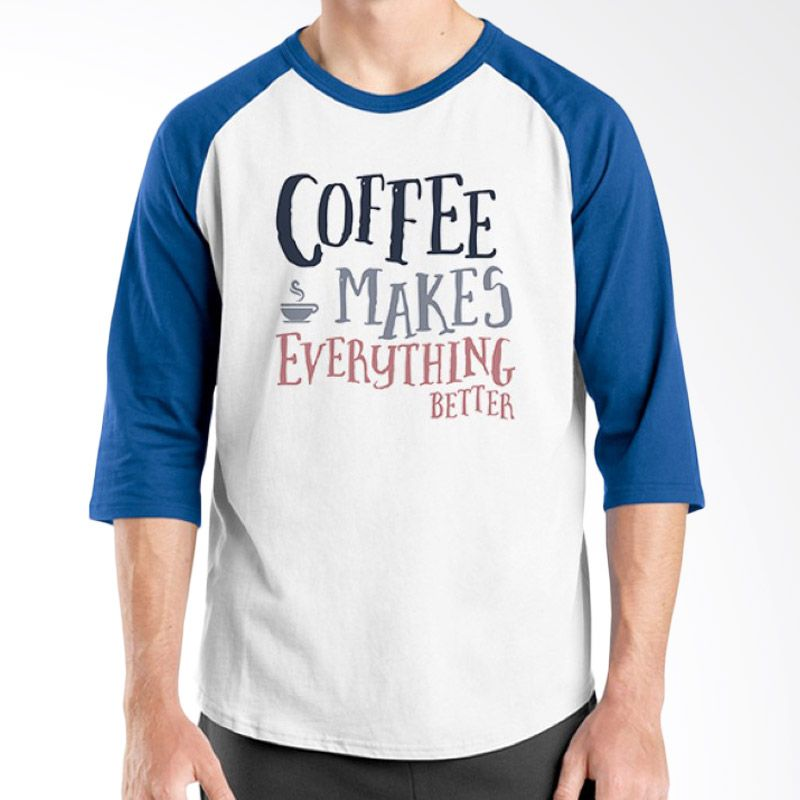 Ordinal Raglan Coffee Addict Edition 15 Biru Putih kaos Pria