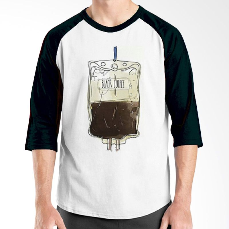 Ordinal Raglan Coffee Addict Edition 17 Hitam Putih kaos Pria