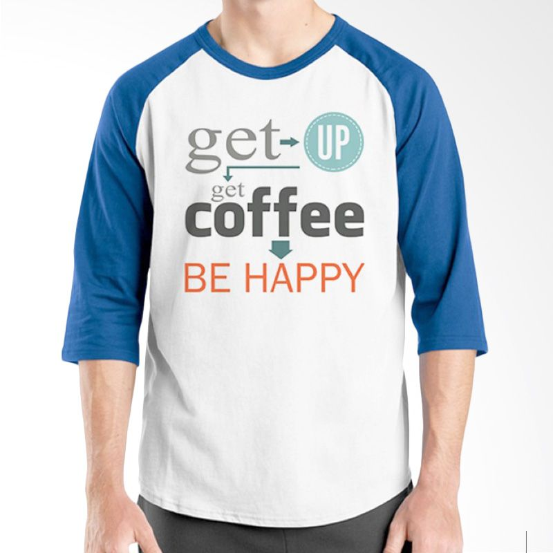 Ordinal Raglan Coffee Addict Edition 18 Biru Putih kaos Pria