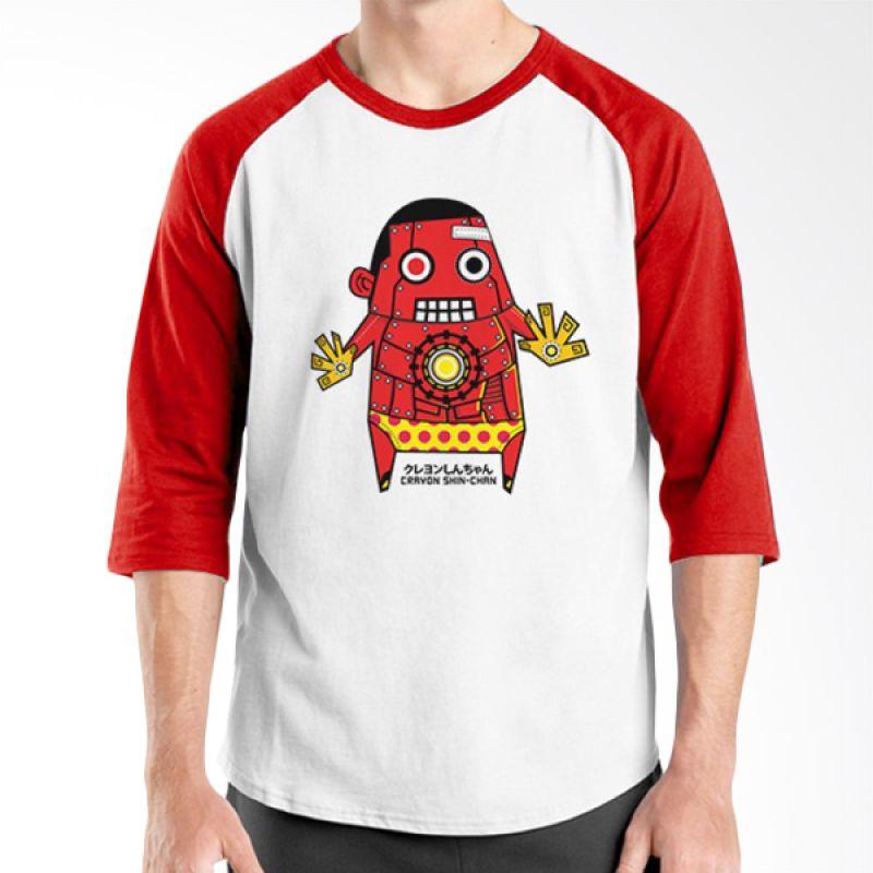 Ordinal Raglan Crayon Shinchan 02 Merah Putih Kaos Pria
