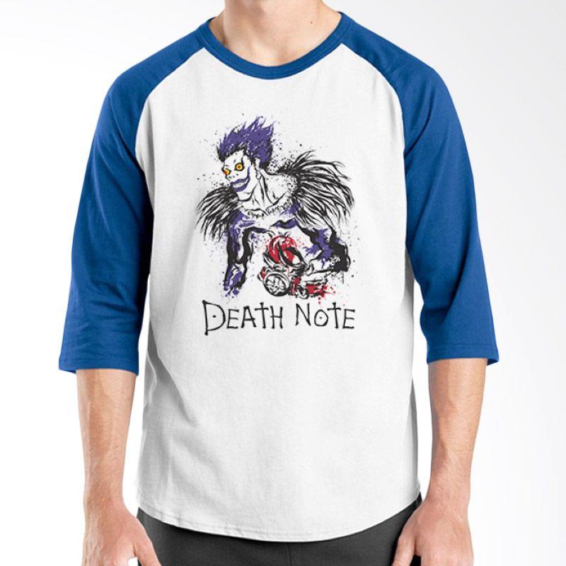 Ordinal Raglan Death Note 04 Putih Biru Kaos Pria