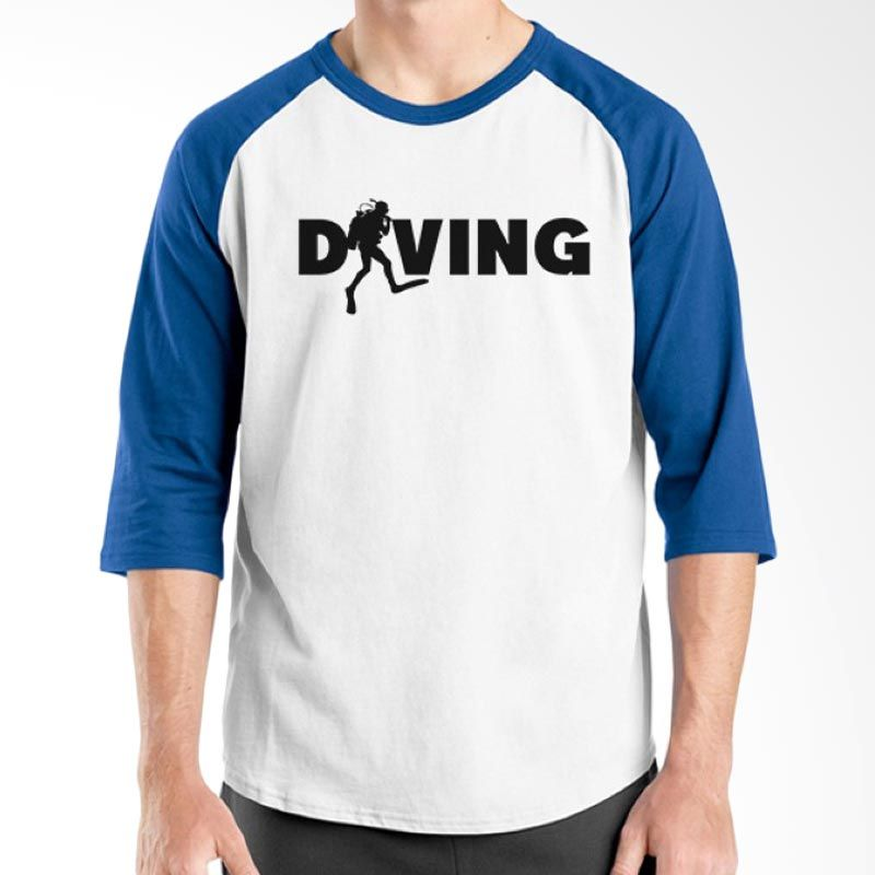 Ordinal Raglan Diving Geek 15 Biru Putih Kaos Pria