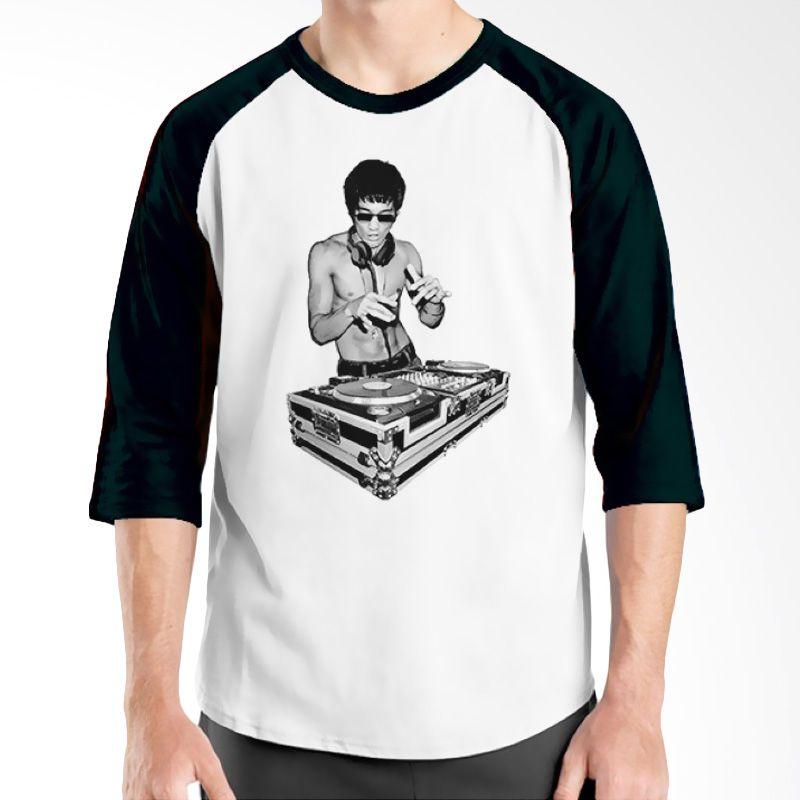 Ordinal Raglan DJ Addict 01 Putih Hitam kaos Pria