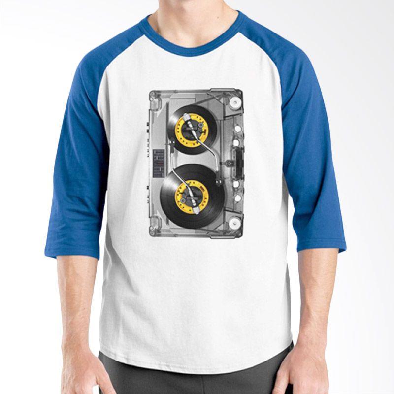 Ordinal Raglan DJ Addict 09 Putih Biru Kaos Pria
