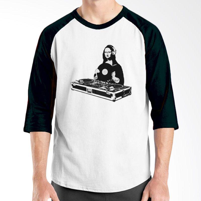 Ordinal Raglan DJ Addict 12 Putih Hitam Kaos Pria
