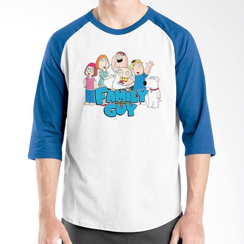 Ordinal Raglan Family Guy Biru Putih Kaos Pria