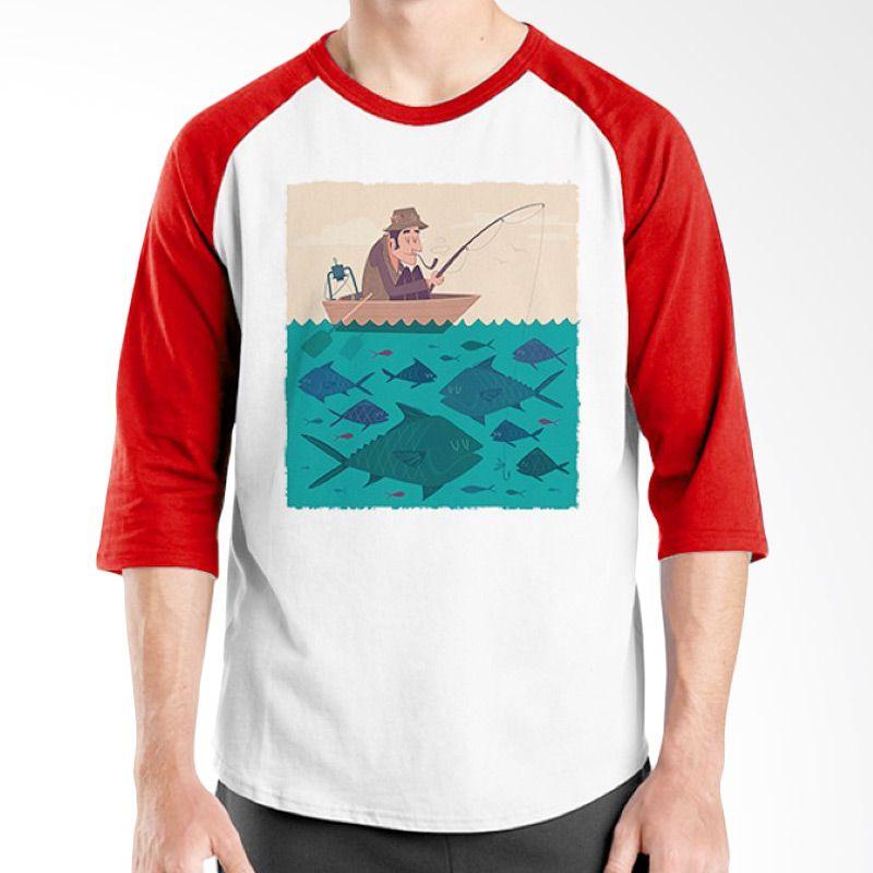Ordinal Raglan Fishing Edition 03 Merah Putih Kaos Pria