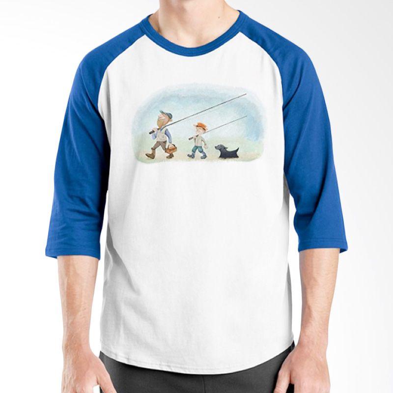 Ordinal Raglan Fishing Edition 04 Biru Putih Kaos Pria