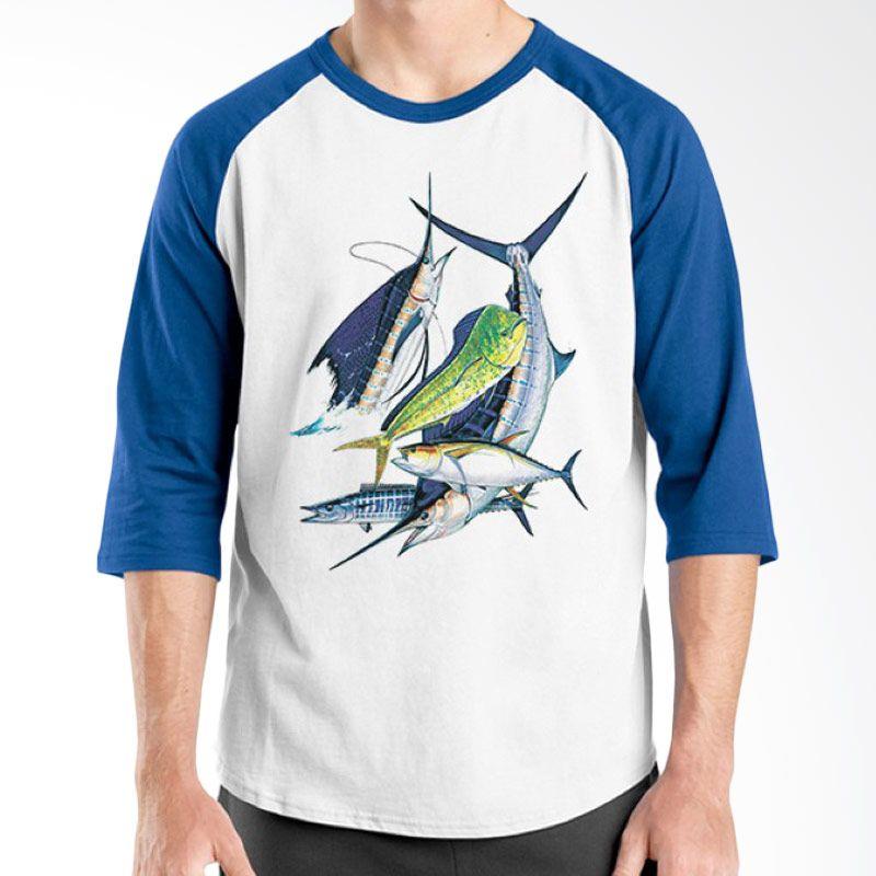 Ordinal Raglan Fishing Edition 11 Biru Putih Kaos Pria