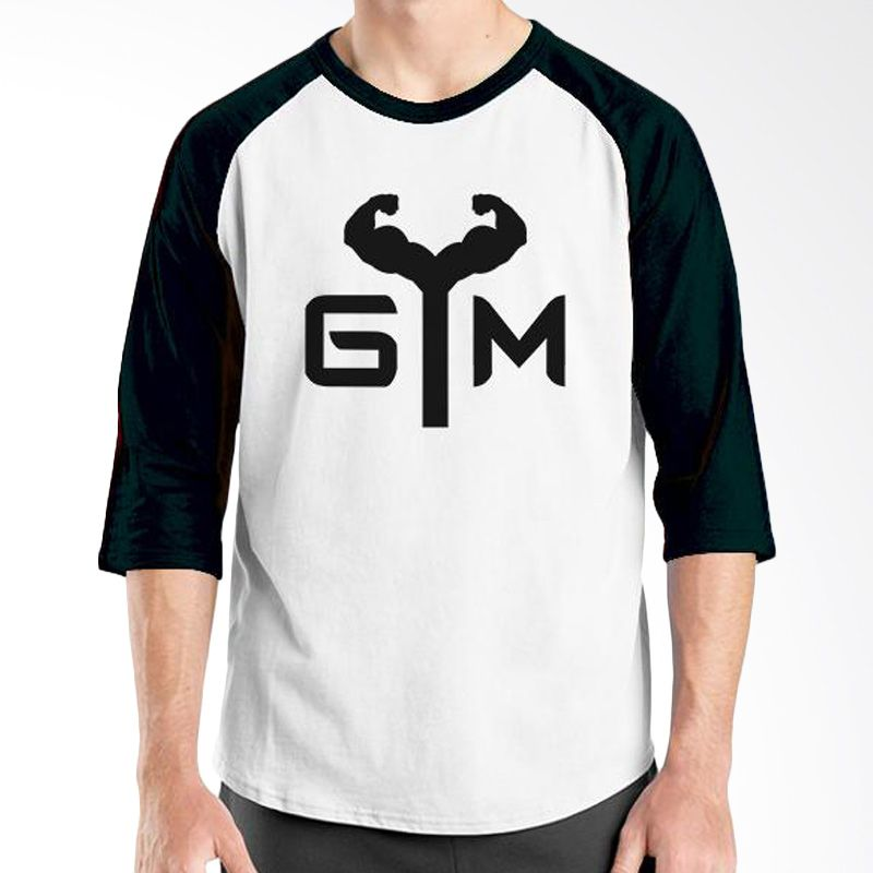 Ordinal Raglan Fitness GYM Putih Hitam Kaos Pria