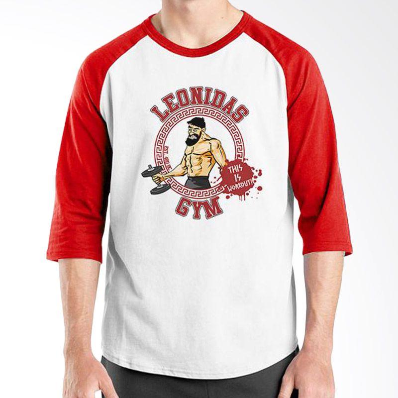 Ordinal Raglan Fitness Leonidas GYM Putih Merah Kaos Pria